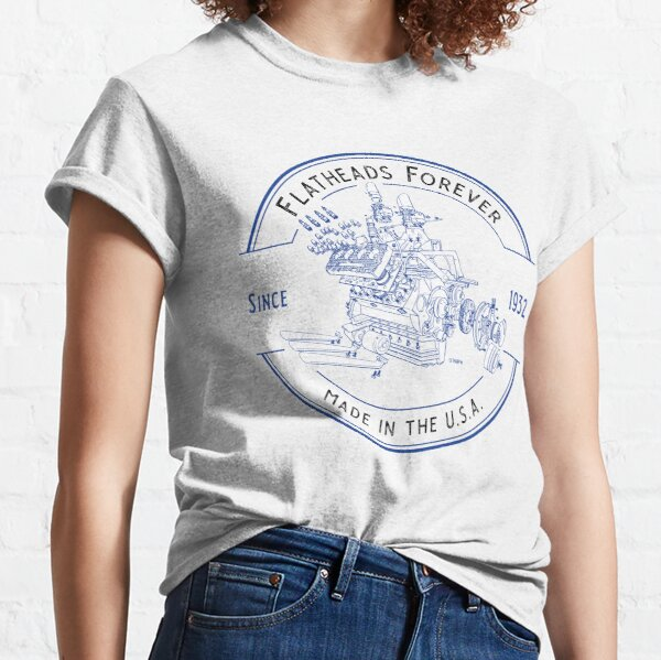 Flatheads Forever V8 Hot Rod Engine Exploded View Blue Classic T-Shirt