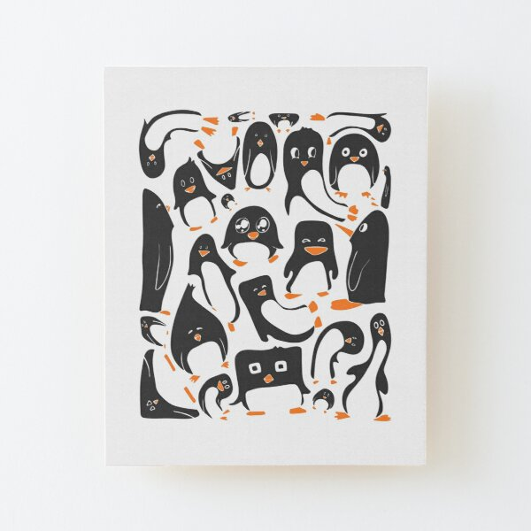 Penguin Party Wood Mounted Print