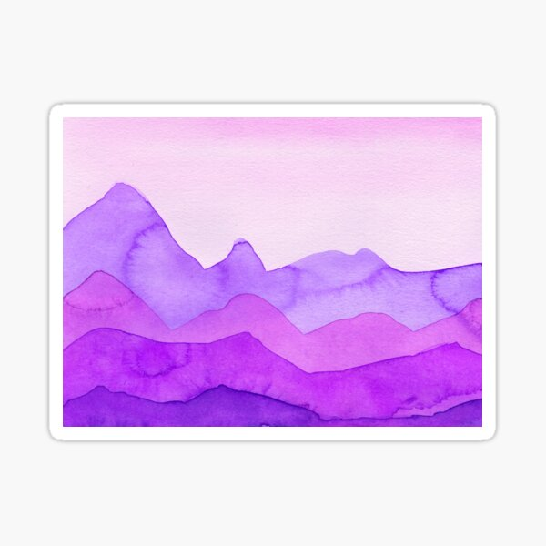 Berge in Magenta, Lila, Violett, Sticker