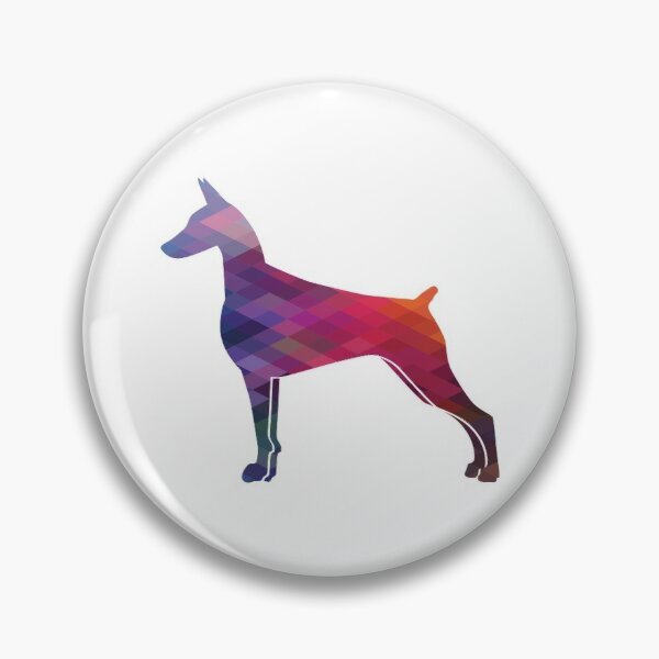 Doberman Pinscher Dog Breed Silhouette Geometric Pattern in Purple Pin
