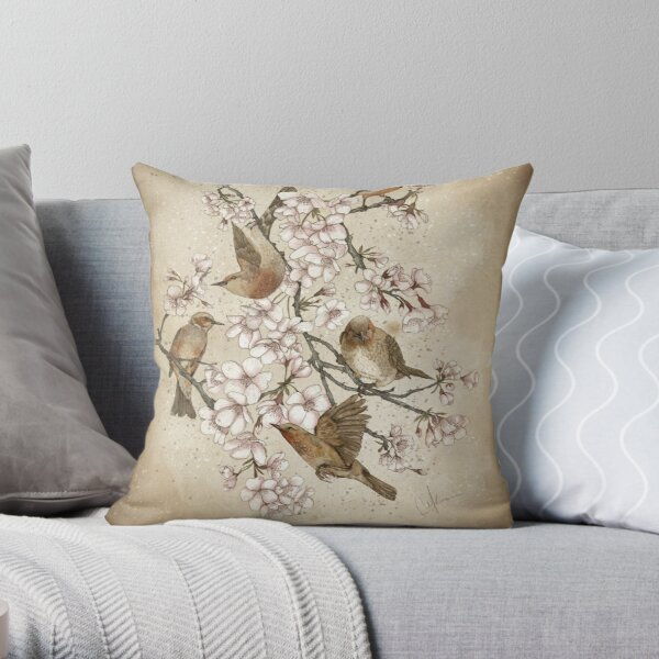 Too many birds Throw Pillow