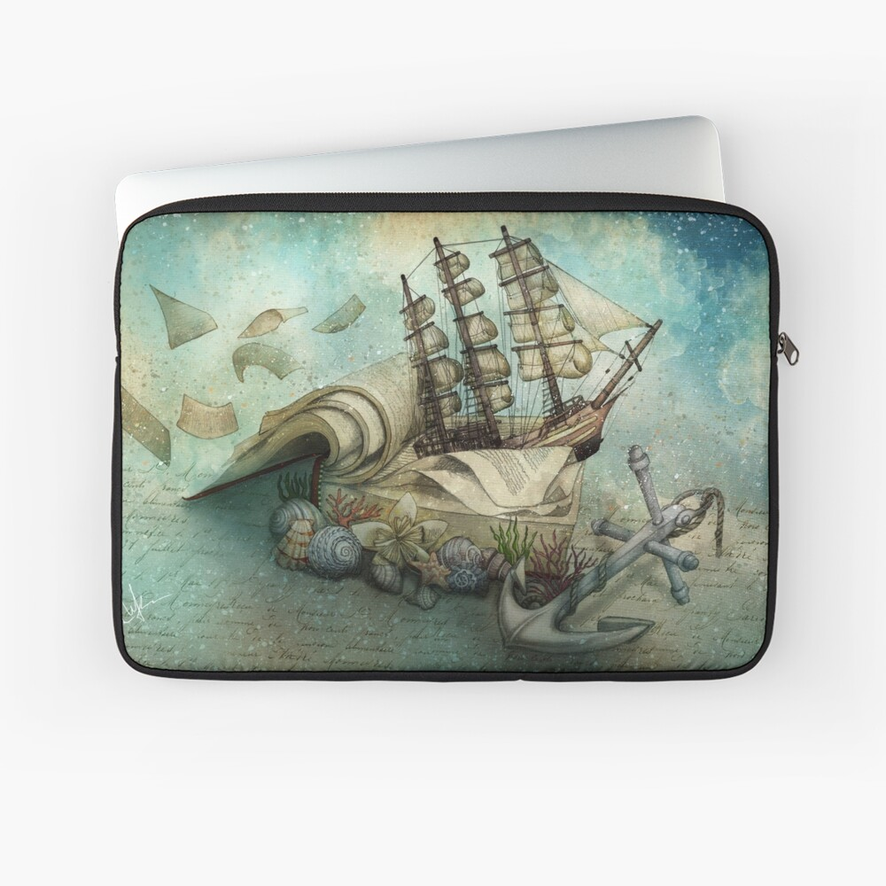 Now I lay me down to read, i travel leagues before i sleep Laptop Sleeve