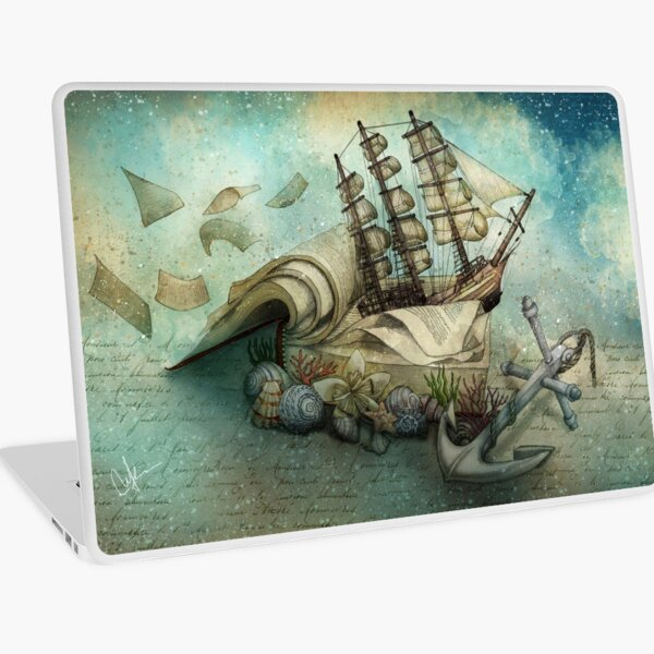 Now I lay me down to read, i travel leagues before i sleep Laptop Skin