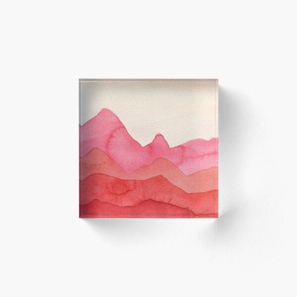 Berge in Rot, Orange, Ocker Acrylblock