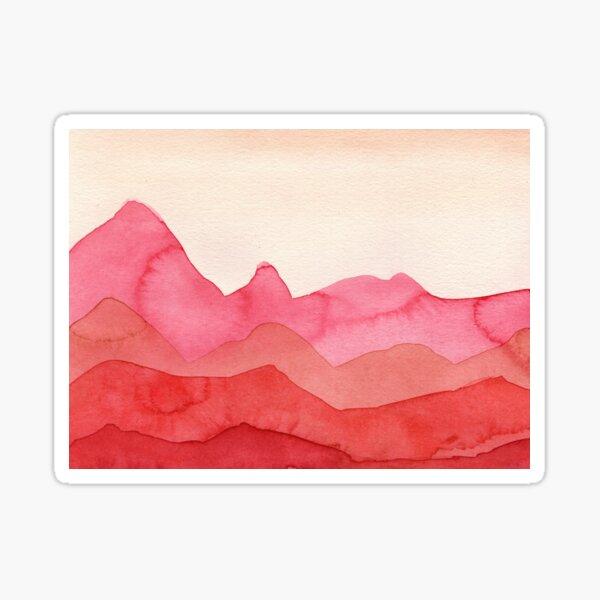 Berge in Rot, Orange, Ocker Sticker