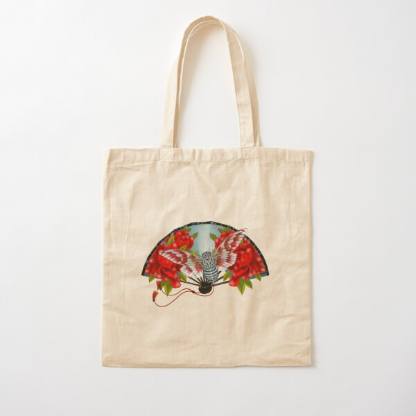 Japanese fan with cicada and peonies Cotton Tote Bag