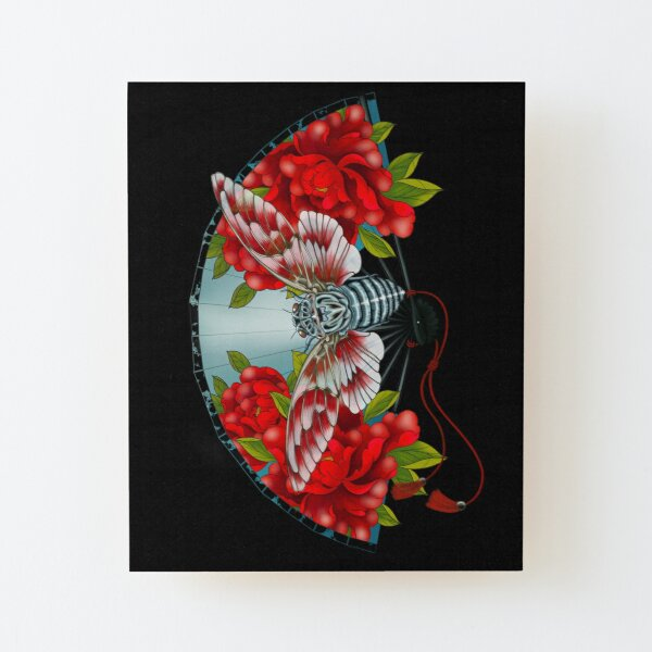 Japanese fan with cicada and peonies Wood Mounted Print