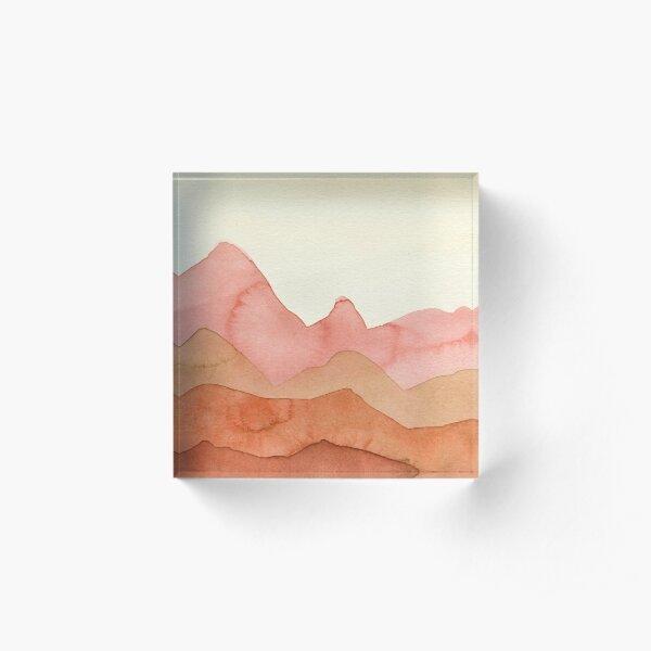 Berge in Orange, Ocker, Braun,  Acrylblock