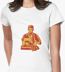 Tailor Sewing Machine Woodcut T-Shirt