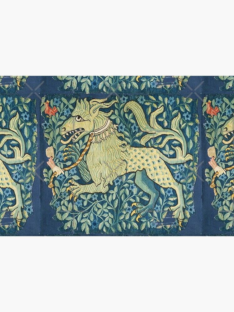 MEDIEVAL BESTIARY Lion Like Beast in Blue Flowers,  by BulganLumini
