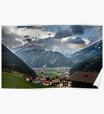 Village in alpine valley Poster