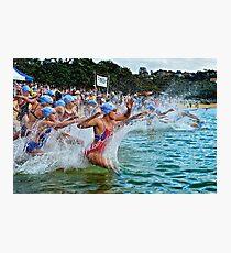 Balmoral Ocean Swim - Blue Caps Photographic Print