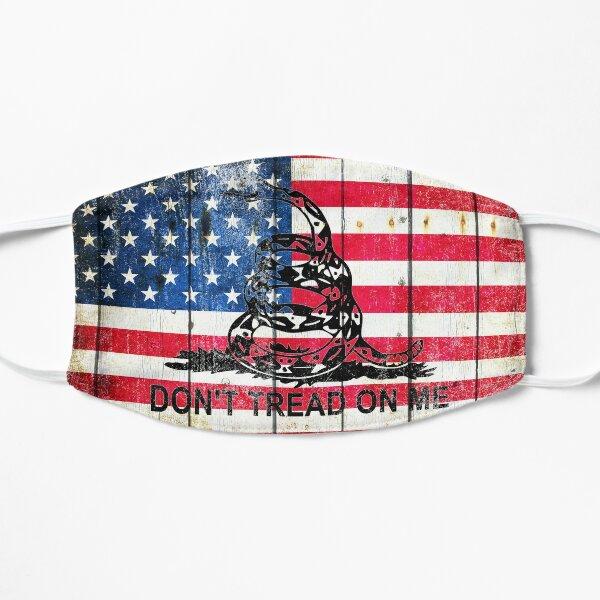 Viper On American Flag On Old Wood Planks Flat Mask