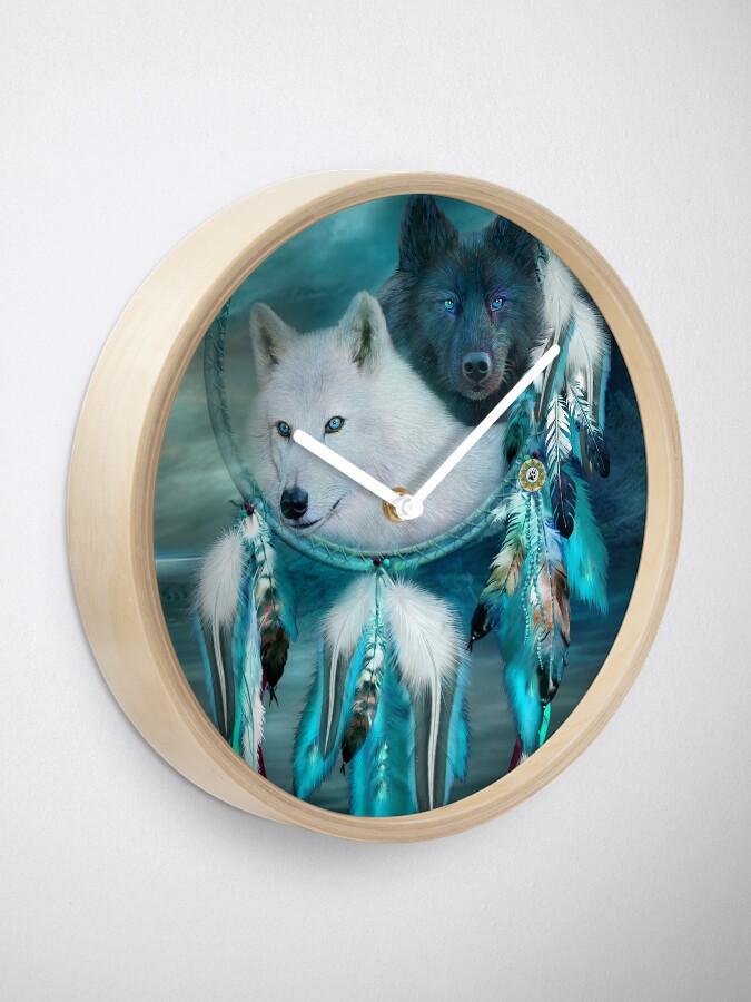 Alternate view of Dream Catcher White Wolf Black Wolf Clock
