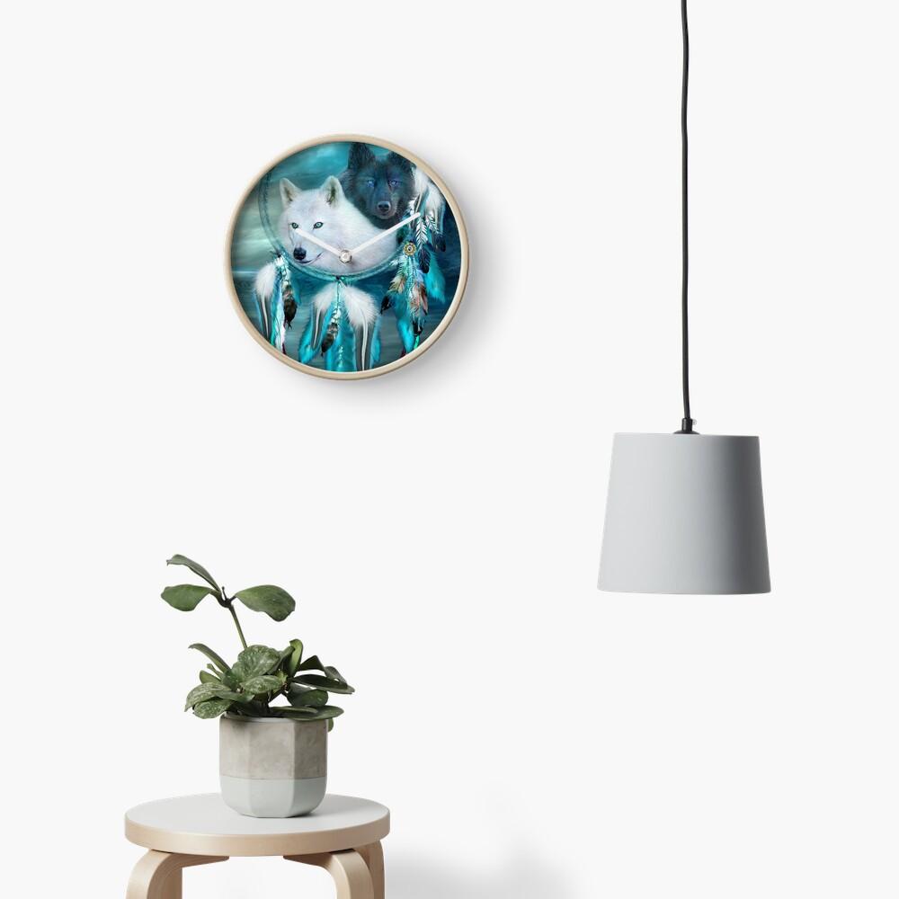Dream Catcher White Wolf Black Wolf Clock