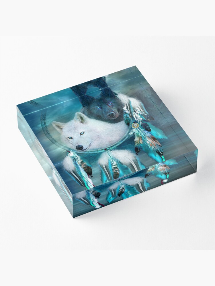 Alternate view of Dream Catcher White Wolf Black Wolf Acrylic Block