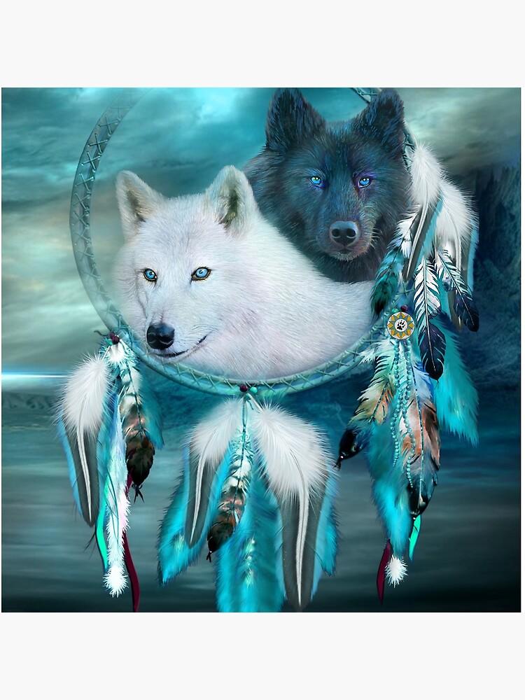 Dream Catcher White Wolf Black Wolf by carolcavalaris