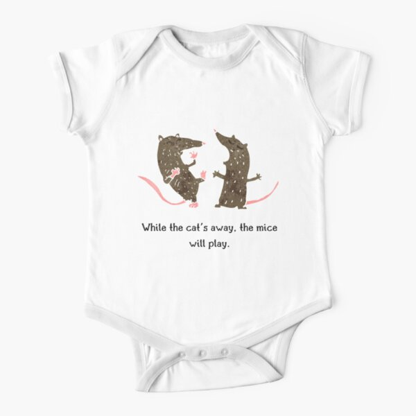 While the cat's away, the mice will play - Cat lover watercolor design Short Sleeve Baby One-Piece