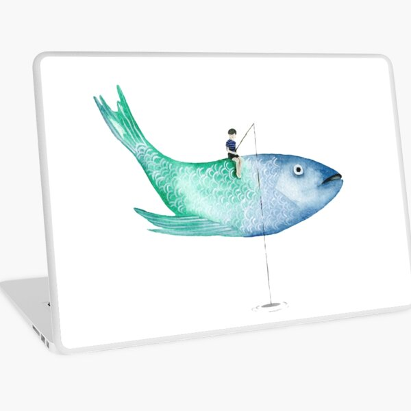Flying Fishing-Boy Laptop Skin