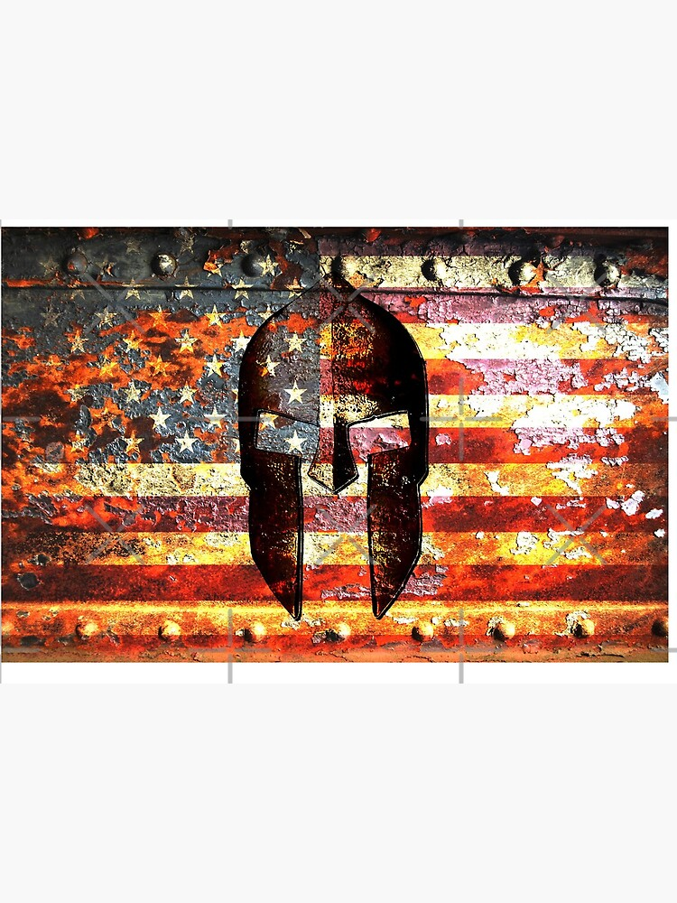 American Flag And Spartan Helmet On Rusted Metal Door - Molon Labe by MolonLabeArt