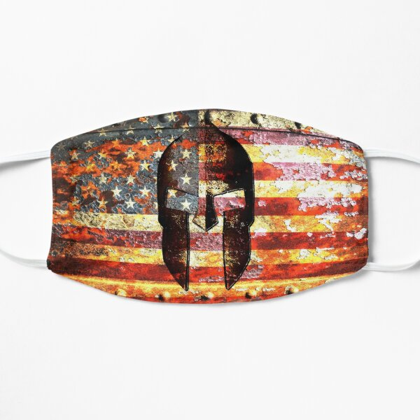 American Flag And Spartan Helmet On Rusted Metal Door - Molon Labe Flat Mask