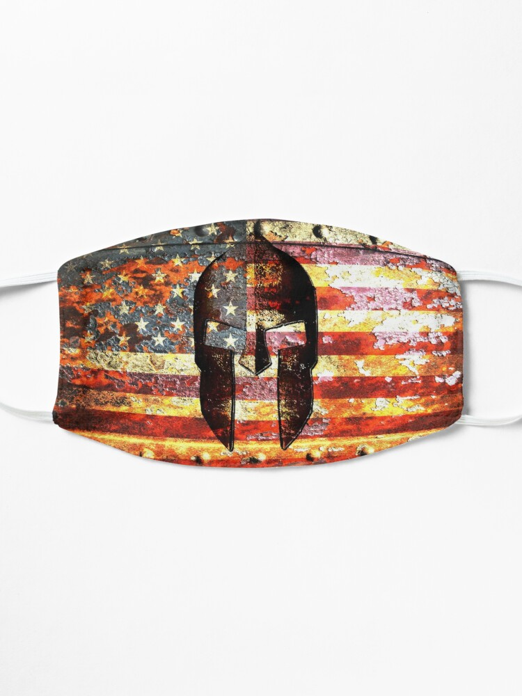 Alternate view of American Flag And Spartan Helmet On Rusted Metal Door - Molon Labe Mask