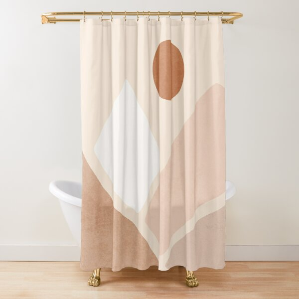 Neutral boho mountain sun Shower Curtain