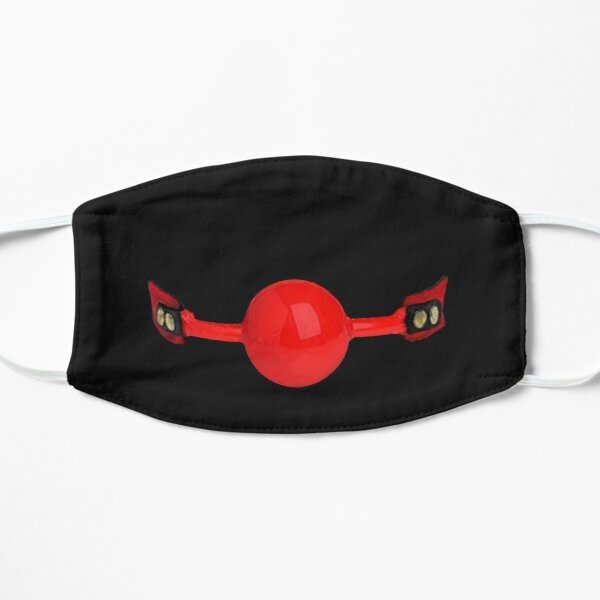 Red Rubber Ball Gag Flat Mask