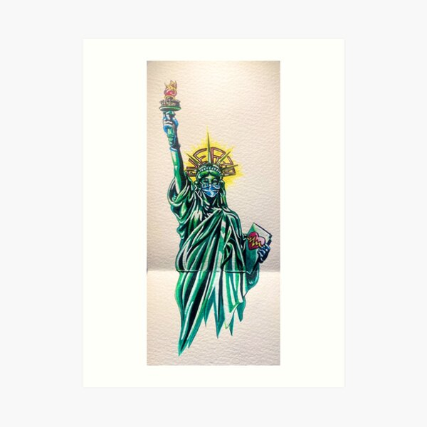 Fuerza/Strength Statue of Liberty COVID-19 Face Mask New York Tough Art Print