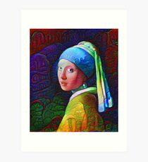 """DeepDreamed """"Girl with a Pearl Earring"""" Art Print"""