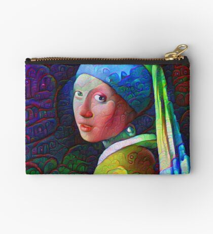 "DeepDreamed ""Girl with a Pearl Earring"" Studio Pouch"
