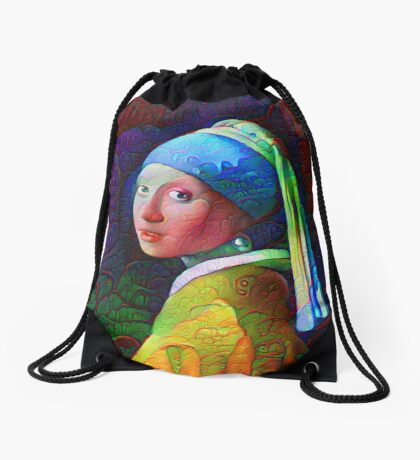 "DeepDreamed ""Girl with a Pearl Earring"" Drawstring Bag"