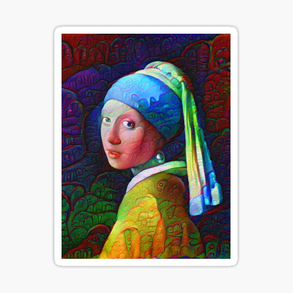 "DeepDreamed ""Girl with a Pearl Earring"" Sticker"