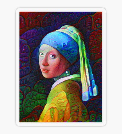 """DeepDreamed """"Girl with a Pearl Earring"""" Transparent Sticker"""