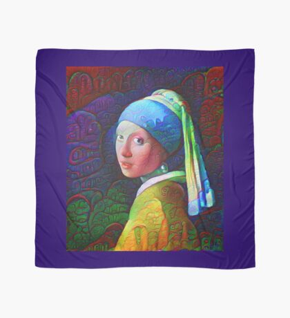 """DeepDreamed """"Girl with a Pearl Earring"""" Scarf"""