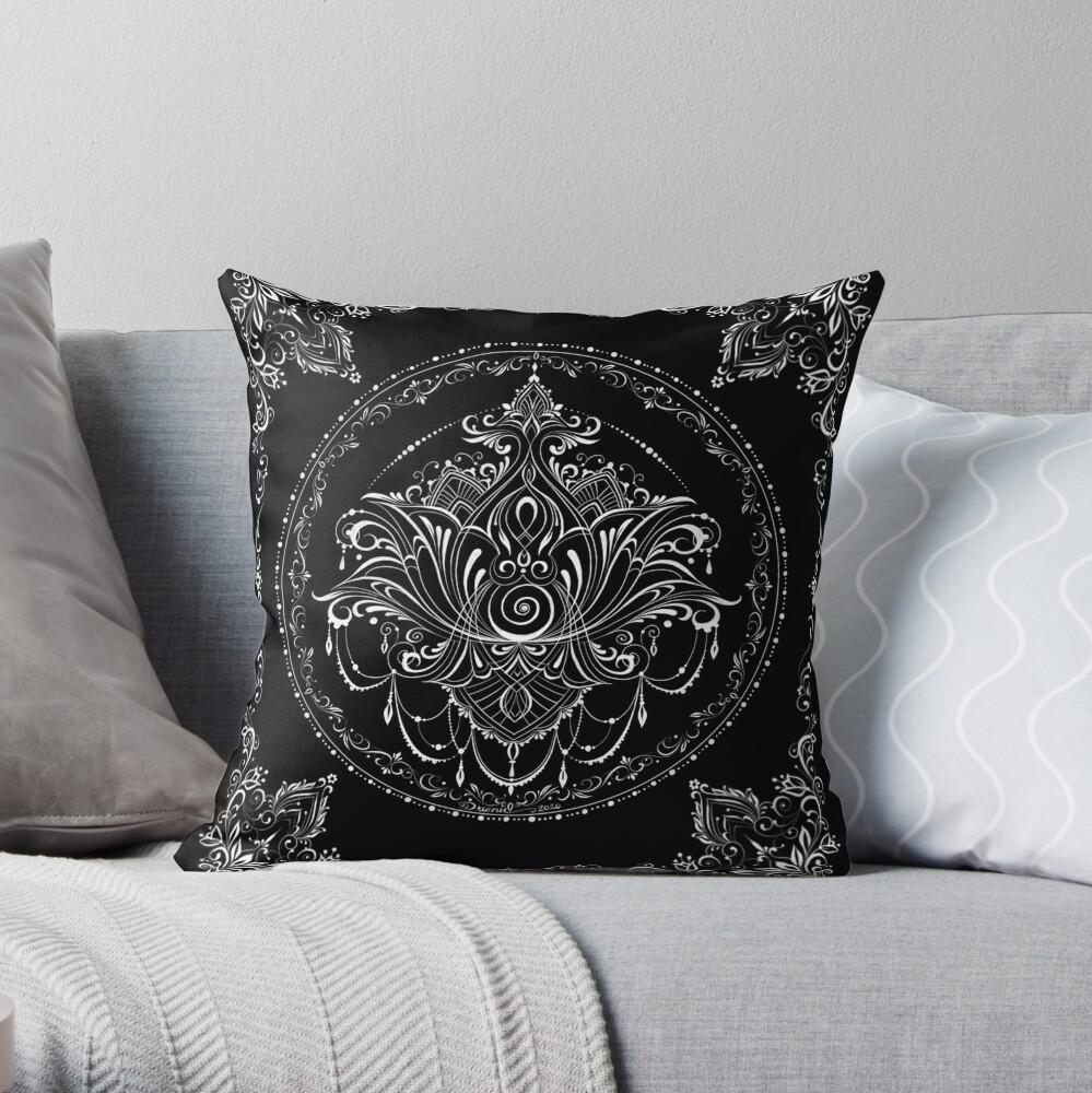 Lotus Goddess in White Throw Pillow