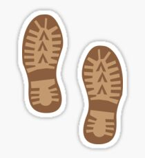 Brown hiking boots print Sticker