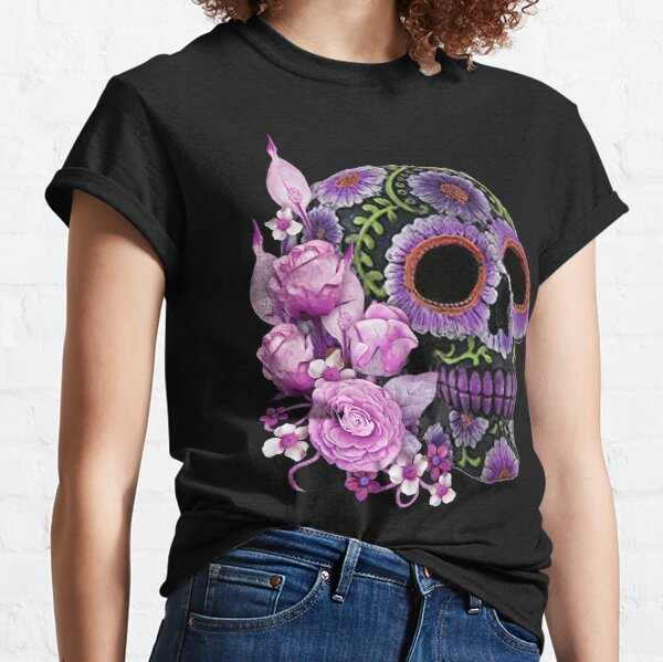 Pink Floral Black Sugar Skull Day Of The Dead Classic T-Shirt
