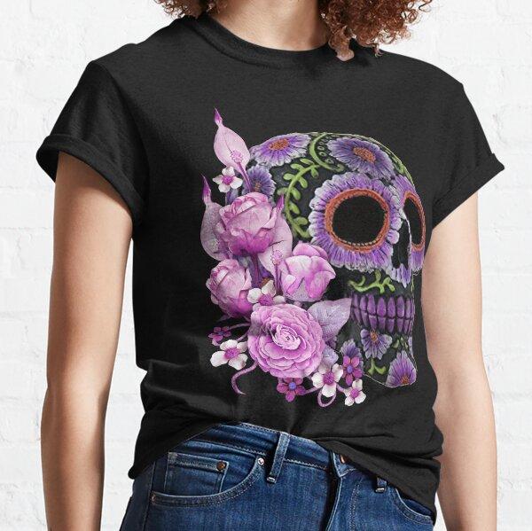 Crâne de sucre noir floral rose jour de la mort T-shirt classique