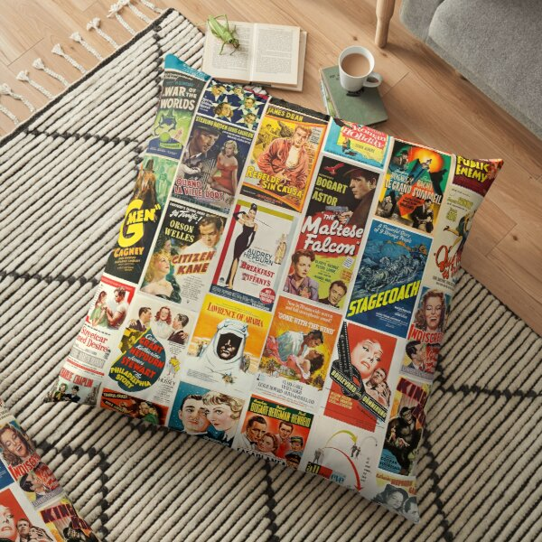 Classic Movie Poster Collage Floor Pillow