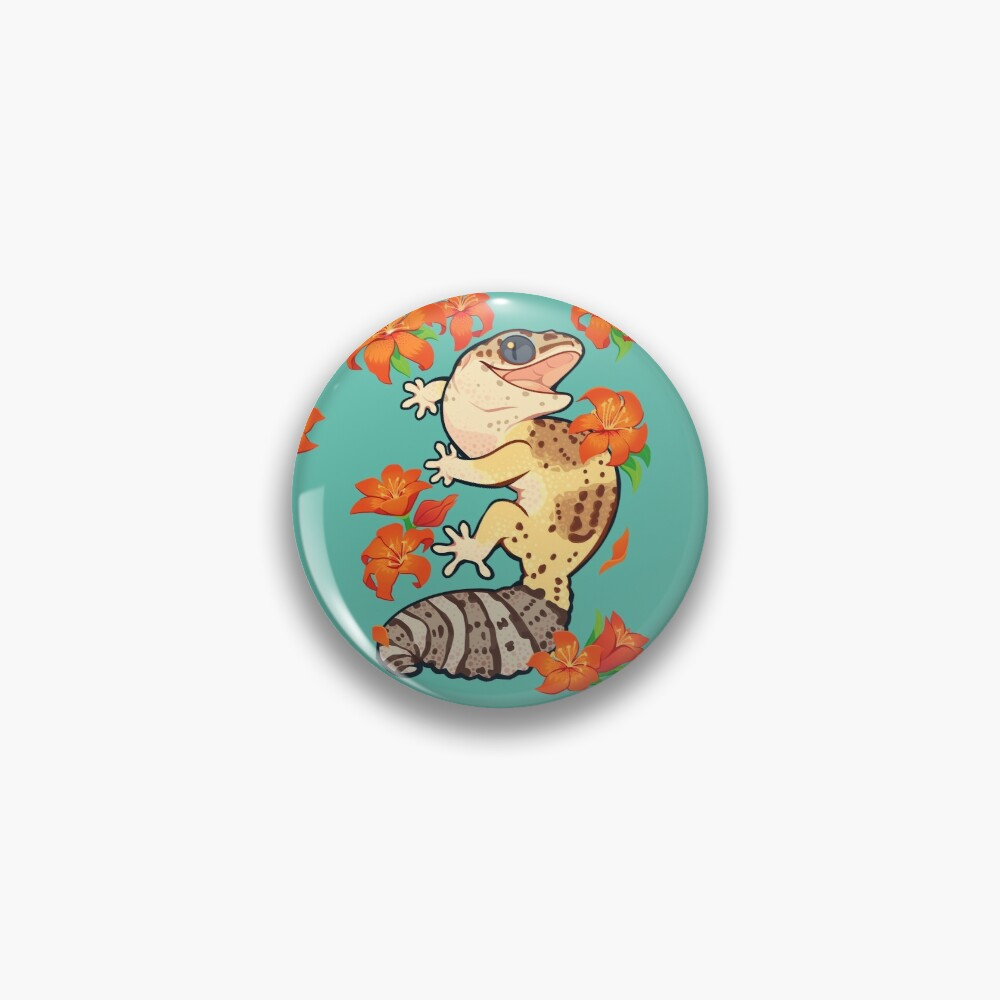 Fire lily gecko Pin