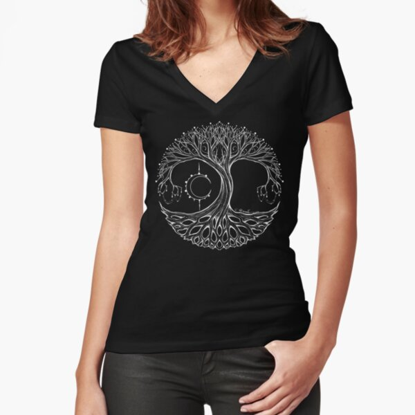 Dreamie's Tree of Life- White Fitted V-Neck T-Shirt