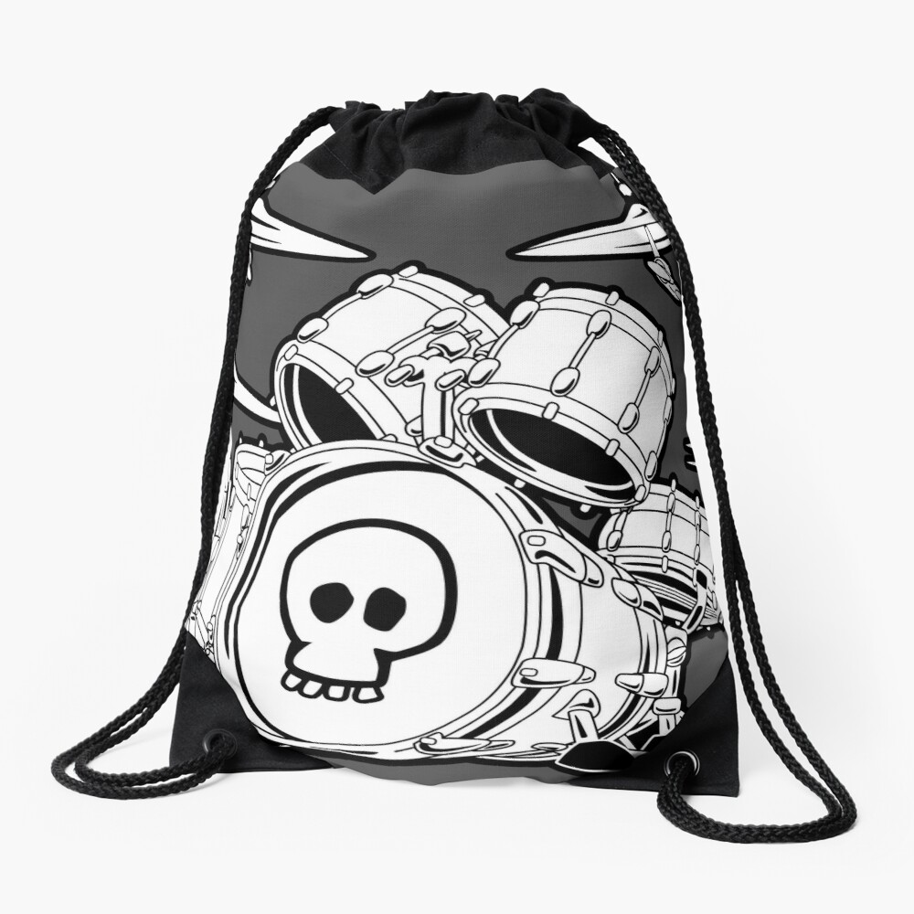 Drum Set Cartoon Drawstring Bag