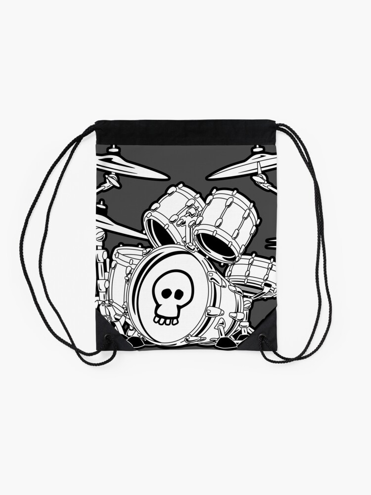 Alternate view of Drum Set Cartoon Drawstring Bag