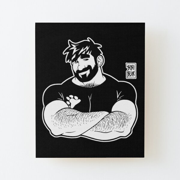 ADAM LIKES CROSSING ARMS - LINEART Wood Mounted Print