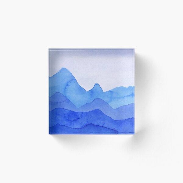 Berge in Blau, Türkis, Azure Acrylblock