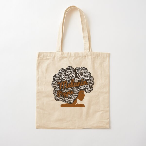 Melanin Poppin Natural Hair Afro Art Black Woman Cotton Tote Bag