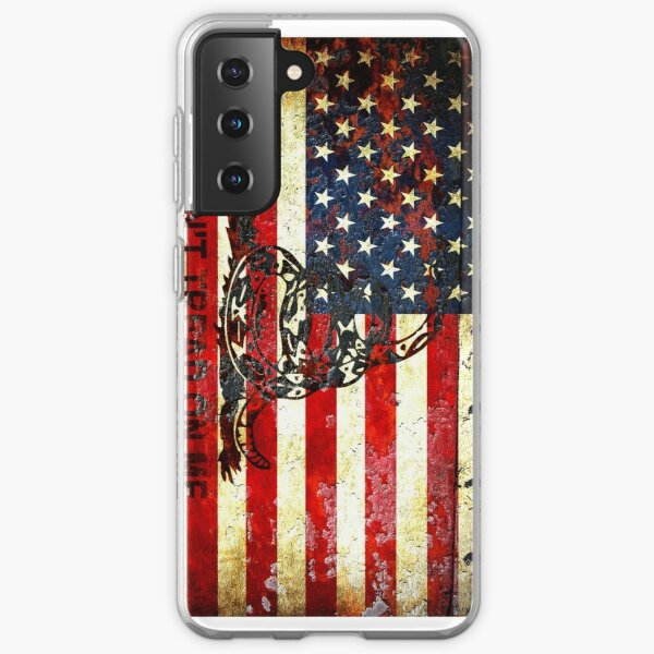 American Flag And Viper On Rusted Metal Door - Don't Tread On Me Samsung Galaxy Soft Case