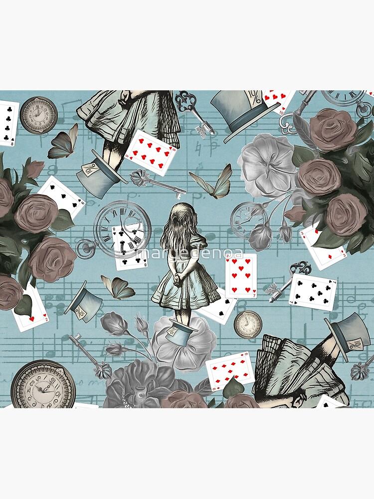 Alice In Wonderland Collage - Vintage Blue by maryedenoa