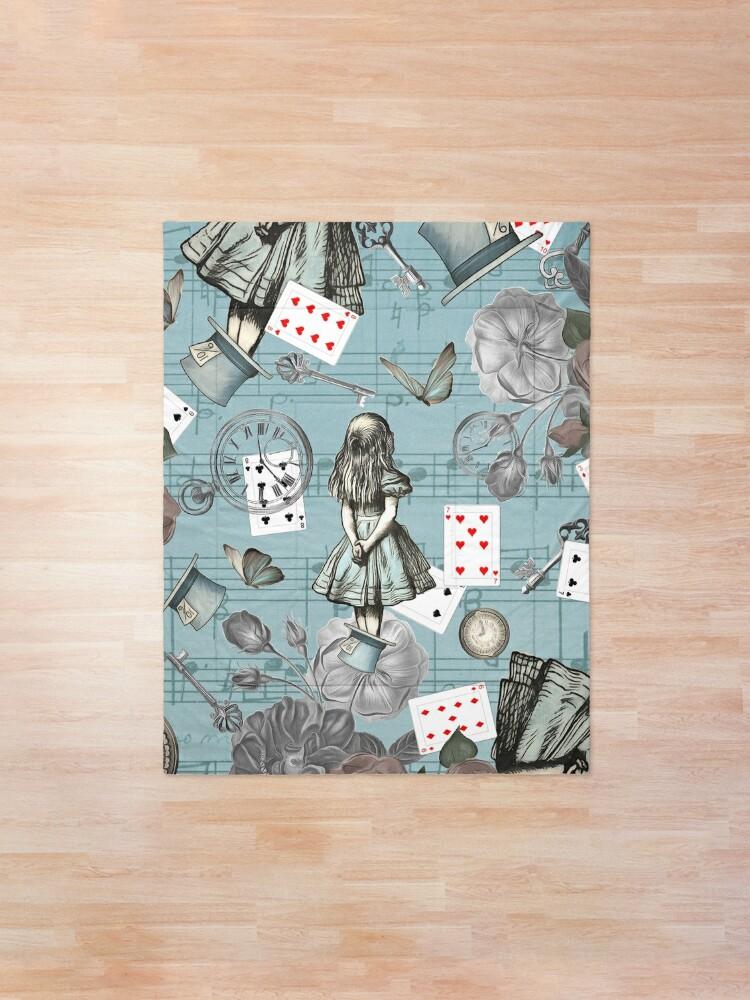 Alternate view of Alice In Wonderland Collage - Vintage Blue Comforter